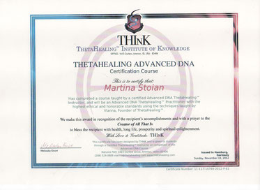 Thetahealing Therapie Zertifikat_Advanced Zertifikat_Martina Stoian