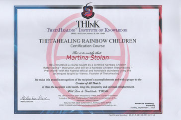 Thetahealing Therapie Zertifikat_Children of the rainbow_Martina Stoian