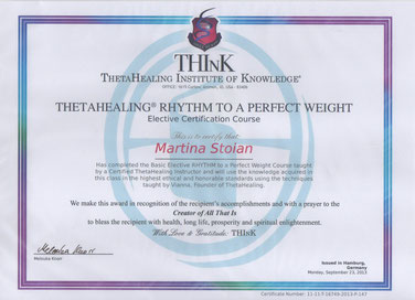 Thetahealing Therapie Zertifikat_Rhythm of a perfect weight_Martina Stoian